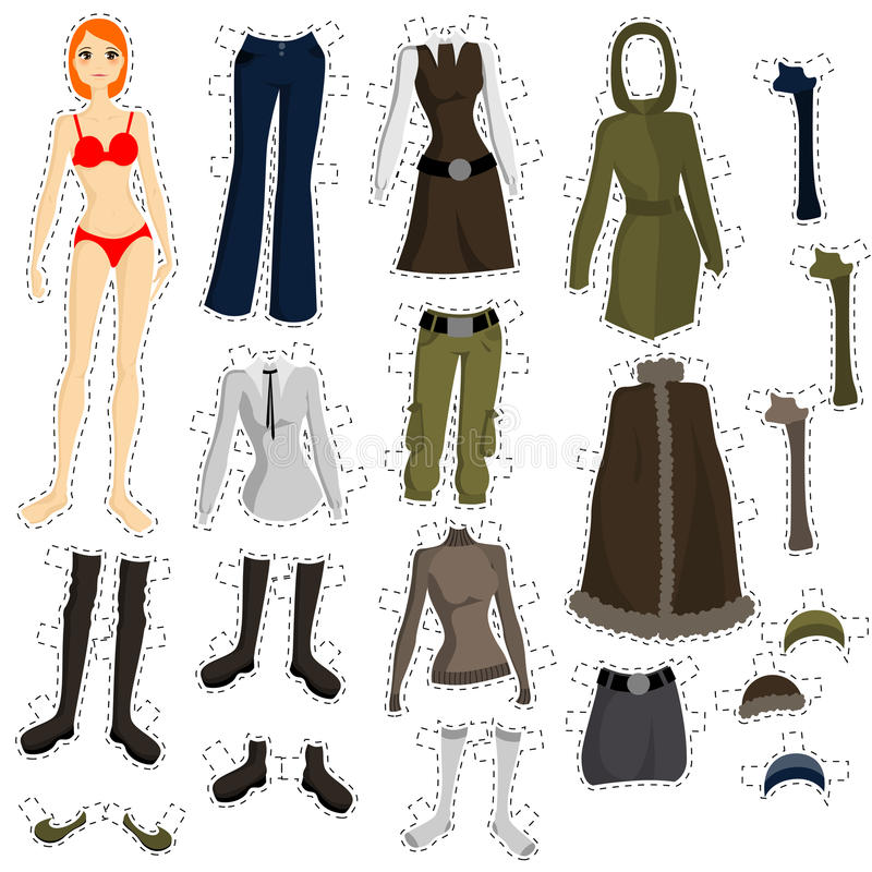 комплект куклы, котор нужно нести иллюстрация вектора