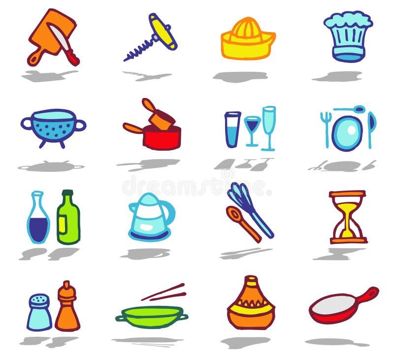 комплект кухни икон иллюстрация штока