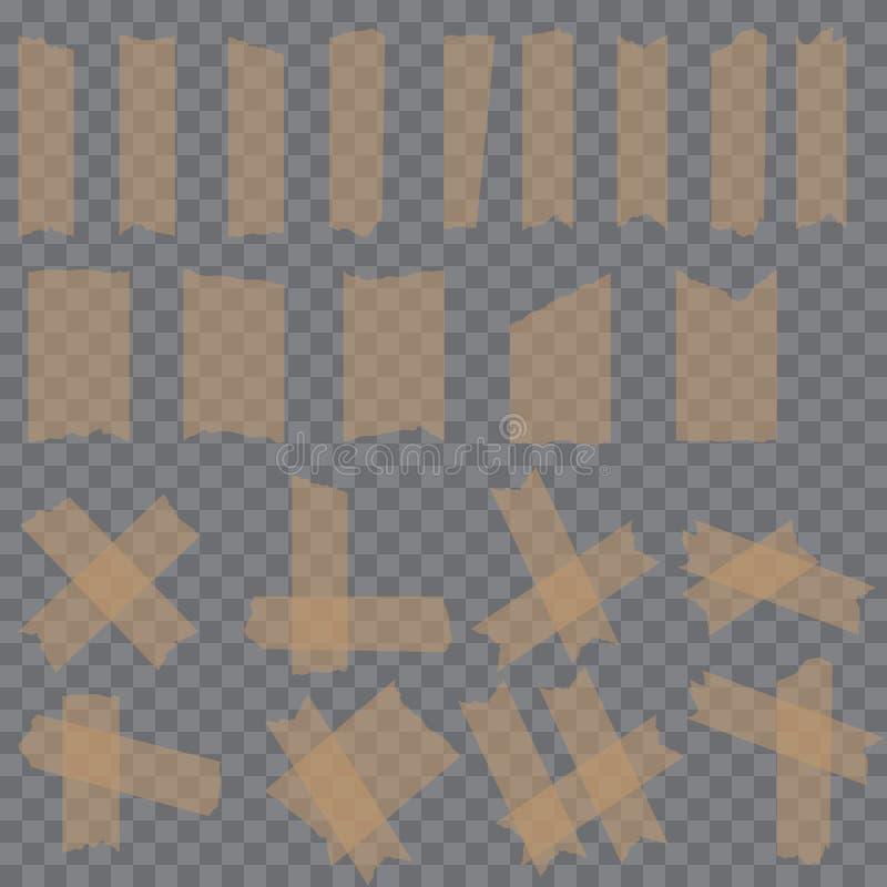 Комплект ленты липкого клея шотландской соединяет на прозрачной предпосылке вектор иллюстрация штока
