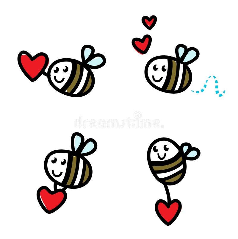 комплект летания doodle пчелы милый иллюстрация штока