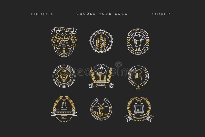 Комплект линейных желтых логотипов винзавода Ярлыки с бутылками и хмелями Элементы дизайна винтажного пива ремесла ретро, эмблемы иллюстрация штока
