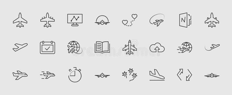 Комплект линии значка плоского вектора Оно содержит символы к воздушным судн, глобусу и больше Editable движение пикселы 32x32 иллюстрация вектора