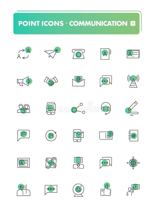 Комплект 30 линии значки Связь бесплатная иллюстрация