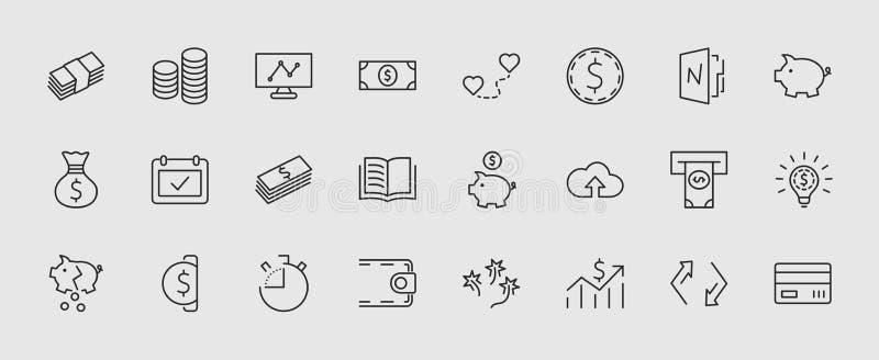 Комплект линии значков вектора денег родственной Содержит такие значки как сумка денег, копилка в форме свиньи, бумажник, ATM бесплатная иллюстрация