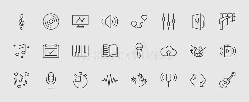 Комплект линии значков вектора музыки родственной Содержит такие значки как каннелюра лотка, рояль, гитара, дискантовый ключ, В-у иллюстрация штока