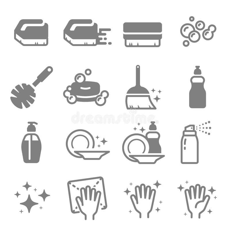Комплект линии значков вектора чистки Щетка, брызг, пузыри, чистая поверхность, мыло и больше иллюстрация вектора