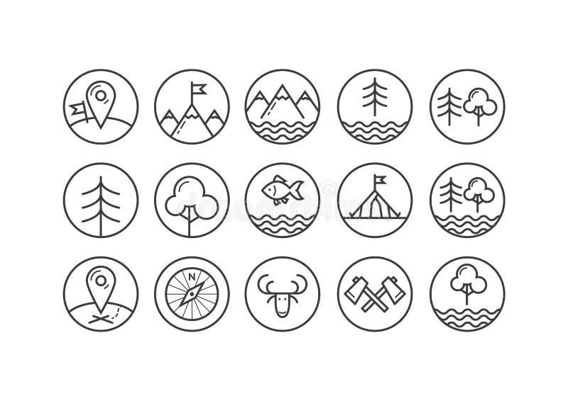 Комплект линии значков искусства на теме туризма в круглой рамке иллюстрация штока