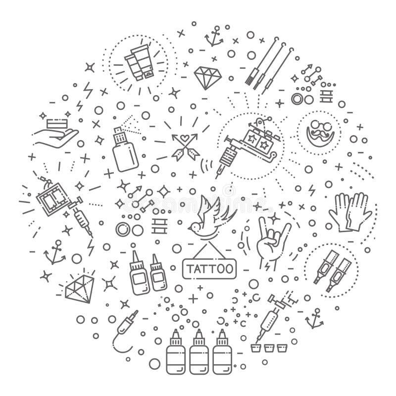 Комплект линии значков сети - татуируйте салон иллюстрация вектора