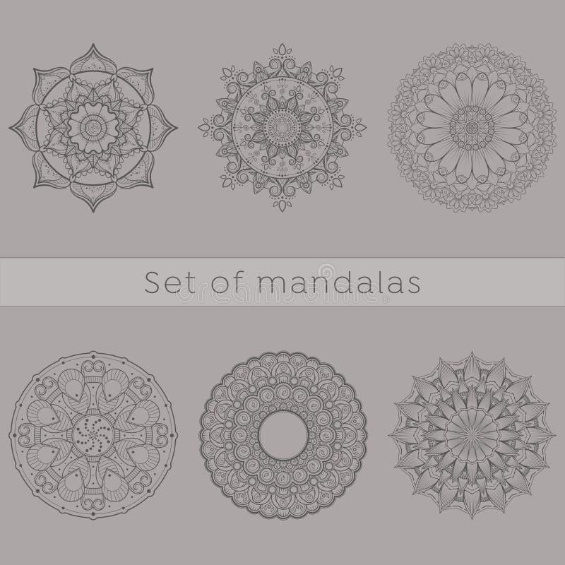 Комплект 6 линий искусств затейливой мандалы конструирует иллюстрация штока