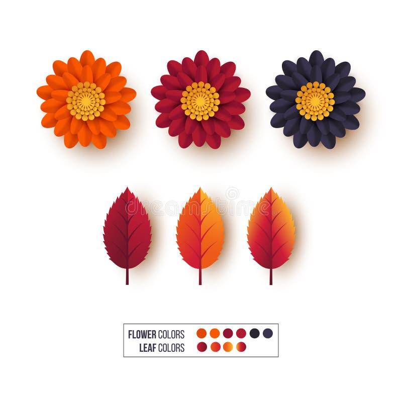 Комплект листьев осени 3d с цветками Декоративные элементы для осенних поздравительных открыток, предпосылок апельсин, бургундски иллюстрация штока