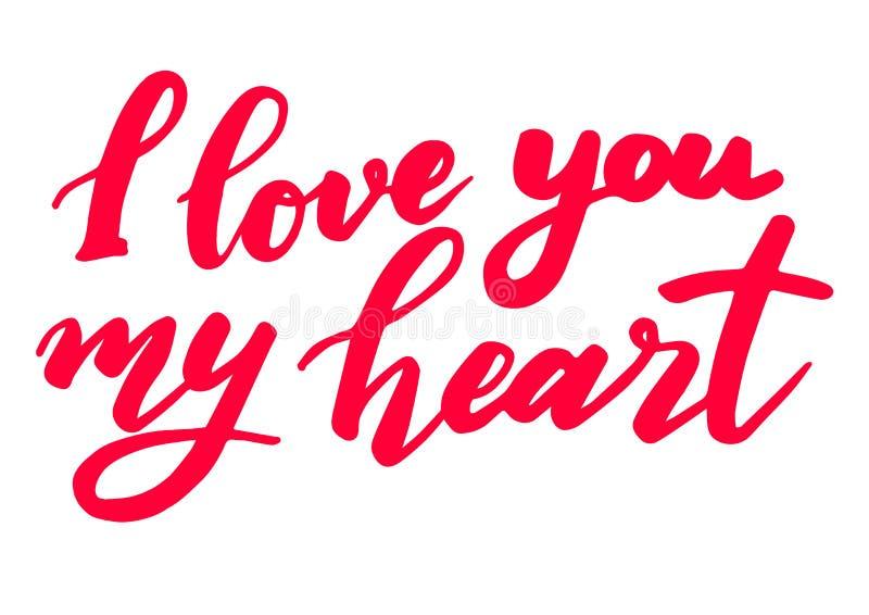 Комплект литерности дня валентинок сделанный для открытки и приветствие подписывают украшение сообщения Я тебя люблю мое сердце иллюстрация штока