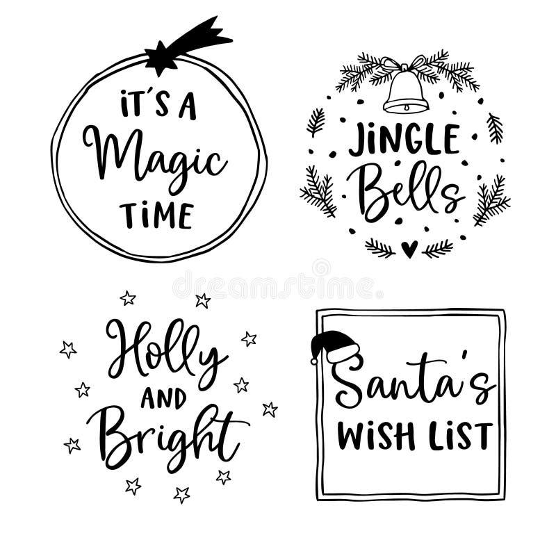 Комплект литерности рождества и Нового Года Рука пометила буквами цитаты для поздравительных открыток, бирок подарка, ярлыков Соб иллюстрация вектора