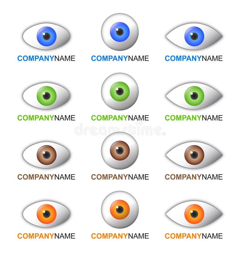 комплект логоса иконы глаза иллюстрация вектора