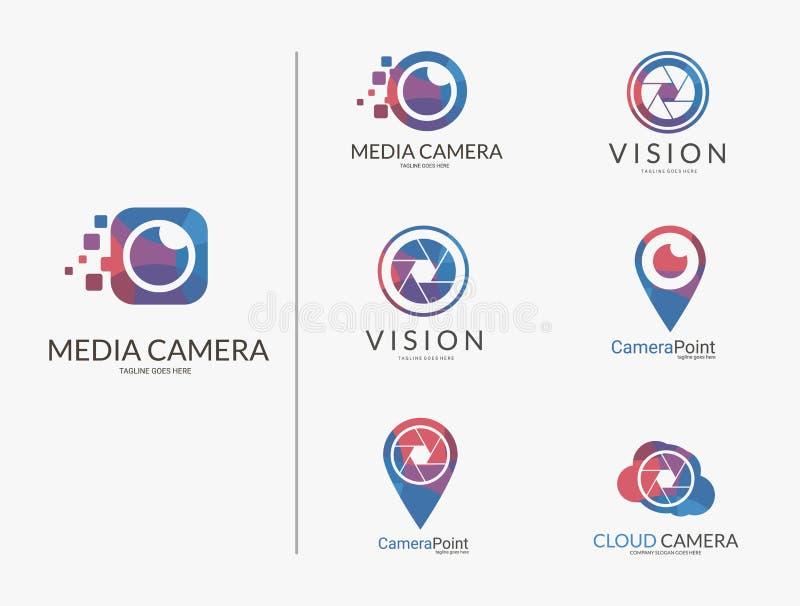 Комплект логоса камеры Пестротканые логотипы камеры иллюстрация штока