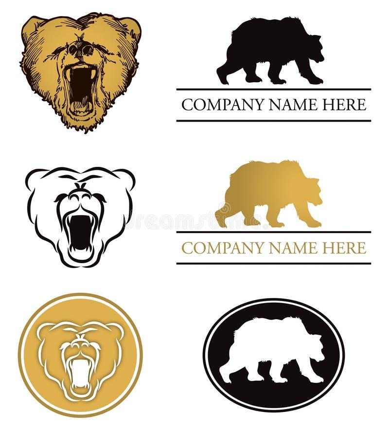 Комплект логоса медведя иллюстрация вектора