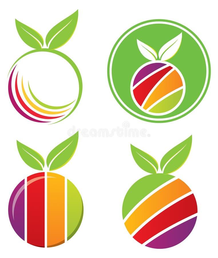 Комплект логоса плодоовощ иллюстрация вектора