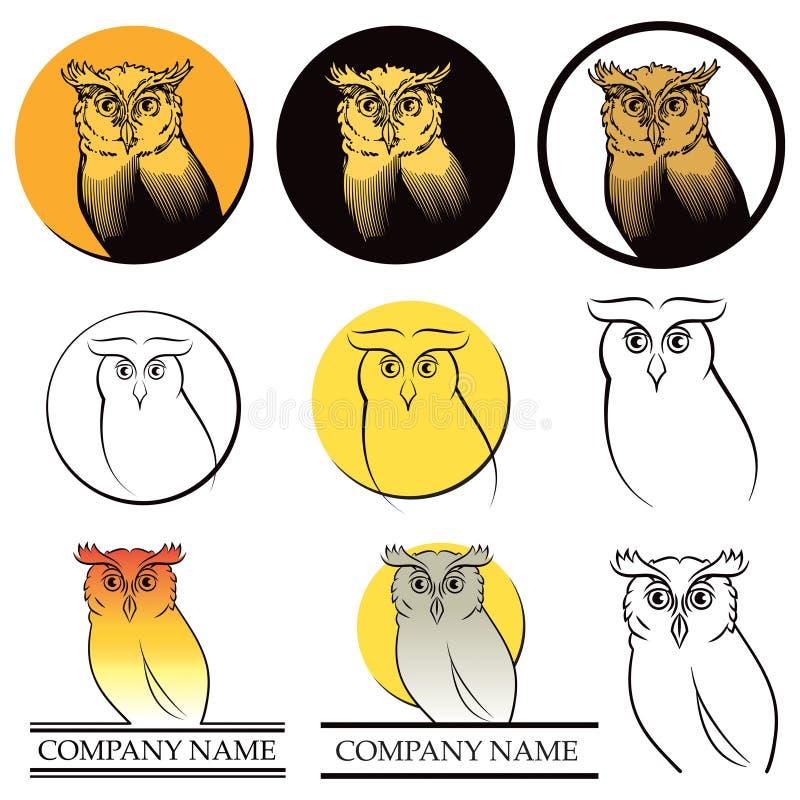 Комплект логоса сыча иллюстрация вектора