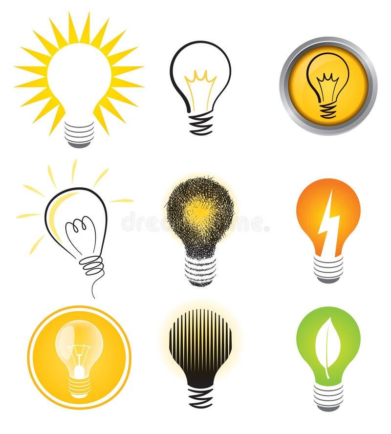 Комплект логоса электрической лампочки иллюстрация вектора