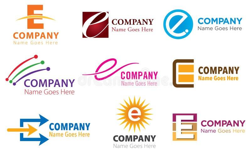 Комплект логоса e иллюстрация штока