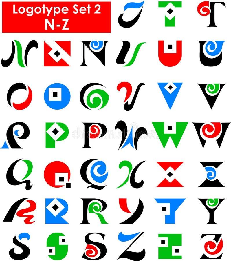 комплект логоса eps алфавита иллюстрация вектора