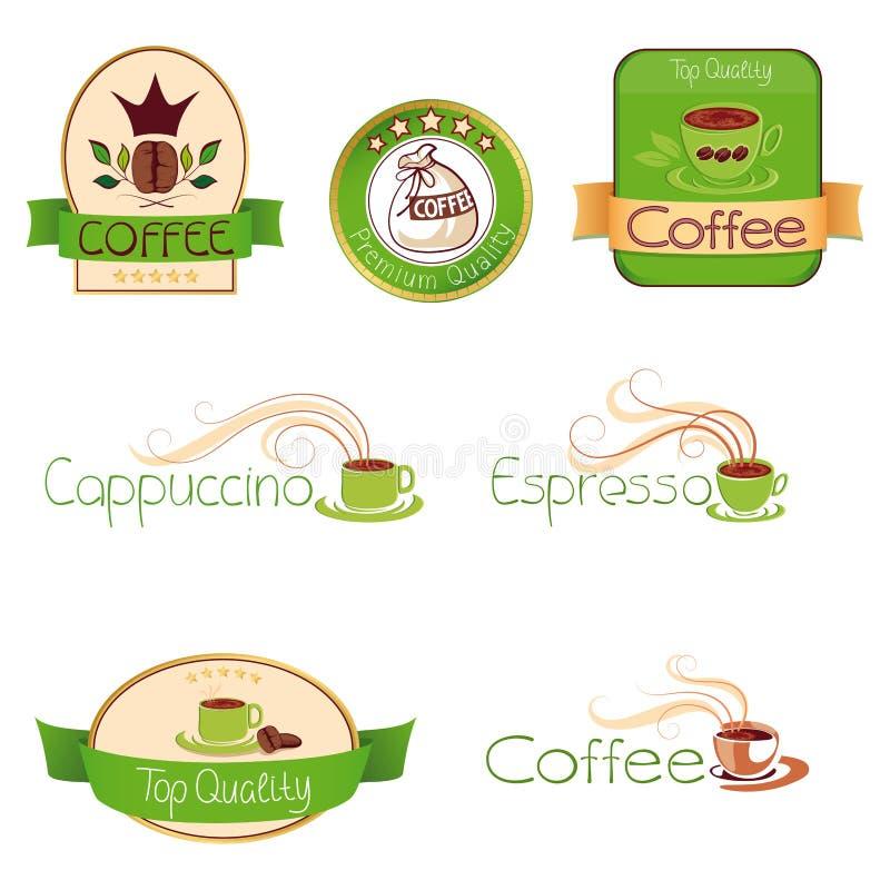 Комплект логосов для кофе, зеленых