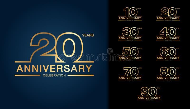 Комплект логотипа годовщины Золотое embl торжества годовщины иллюстрация штока