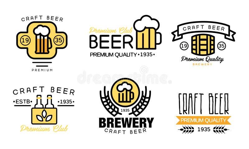 Комплект логотипа пива ремесла, знаки качества винтажного винзавода наградные, значки для дома пива, бара, паба, вектора компании иллюстрация вектора