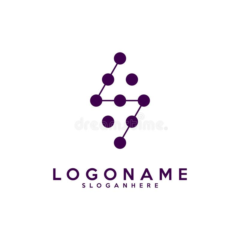 Комплект логотипа письма s, технология и цифровое абстрактное соединение точки vector логотип иллюстрация штока