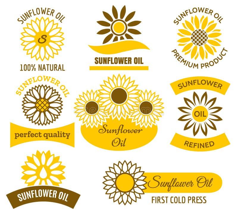Комплект логотипа подсолнечного масла иллюстрация вектора