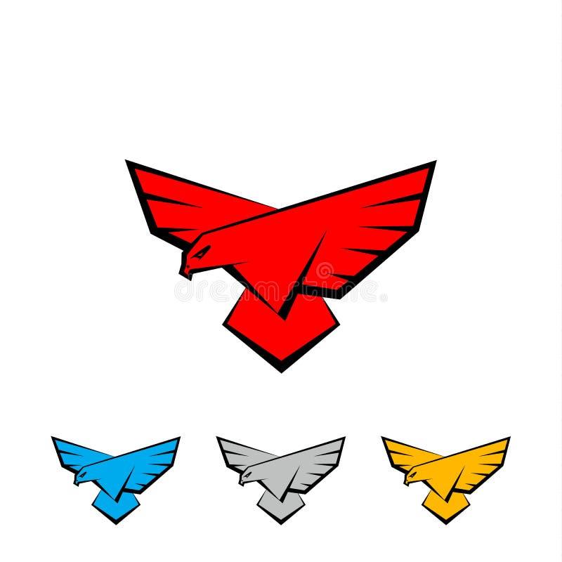 Комплект логотипа сокола Птица с большими крылами приземляется Плоский шаблон логотипа вектора с хищной птицей, соколом или орлом бесплатная иллюстрация