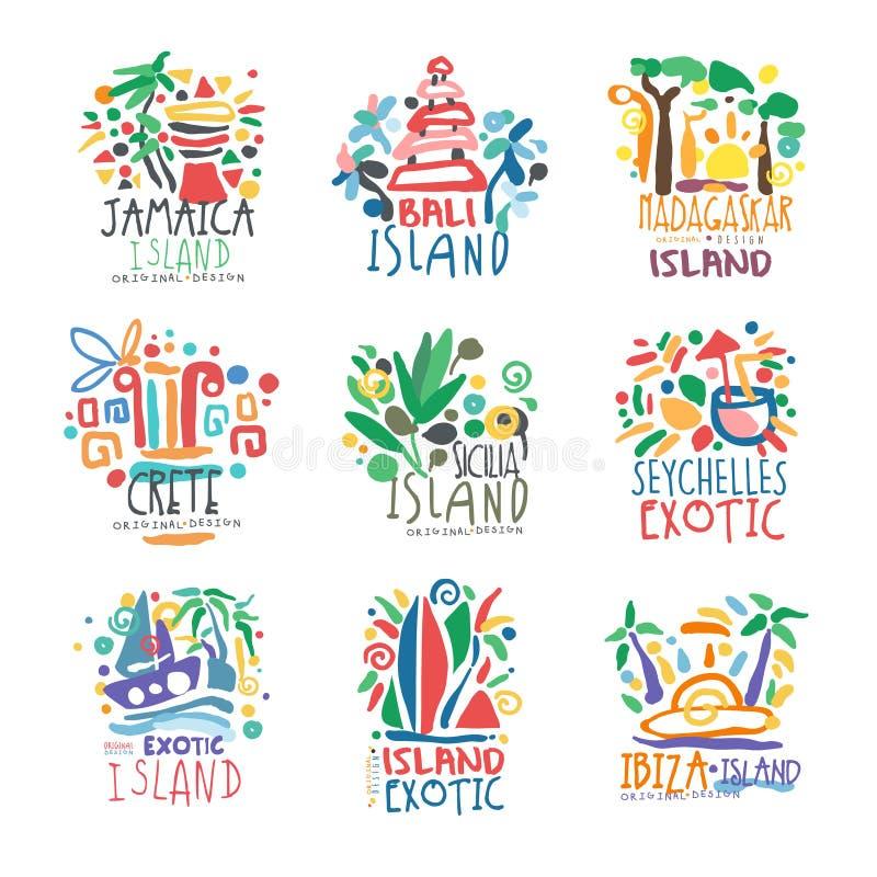 Комплект логотипа экзотических летних каникулов островов красочный иллюстрация штока