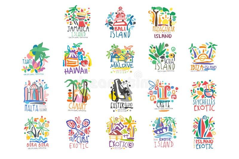 Комплект логотипа экзотических летних каникулов островов красочный иллюстрация вектора