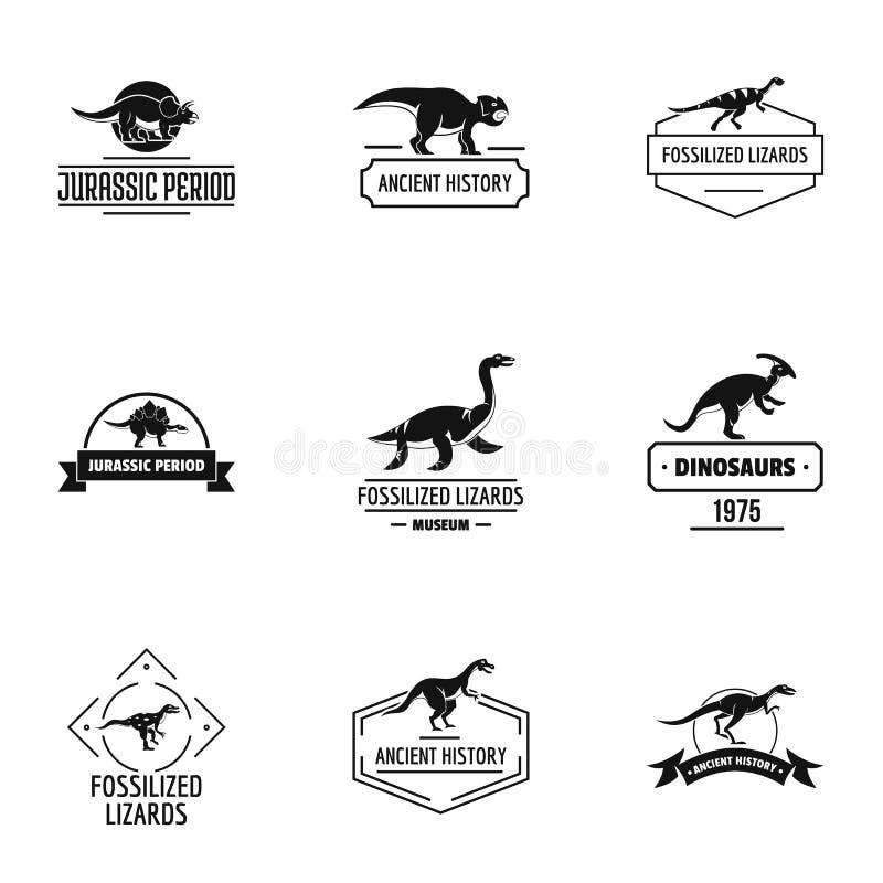 Комплект логотипа Dino, простой стиль иллюстрация штока