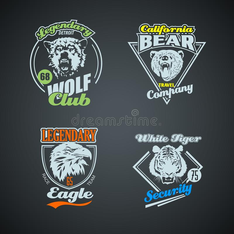 Комплект логотипов винтажного дикого животного ретро покрашено иллюстрация штока