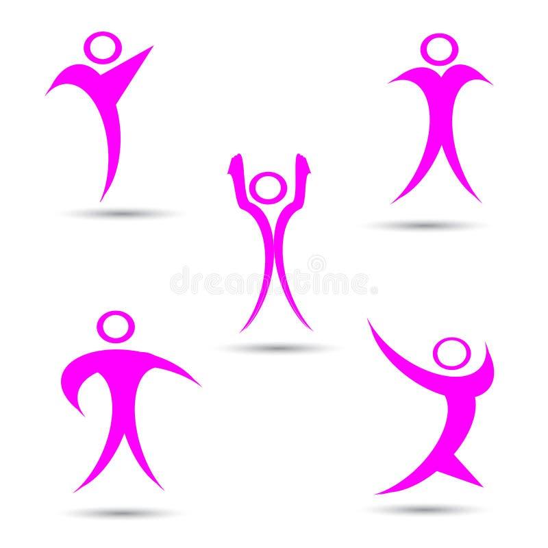 Комплект логотипов человека, команда, значок семьи Победитель, руководитель, логотип дела Собрание человека иллюстрации иллюстрация вектора