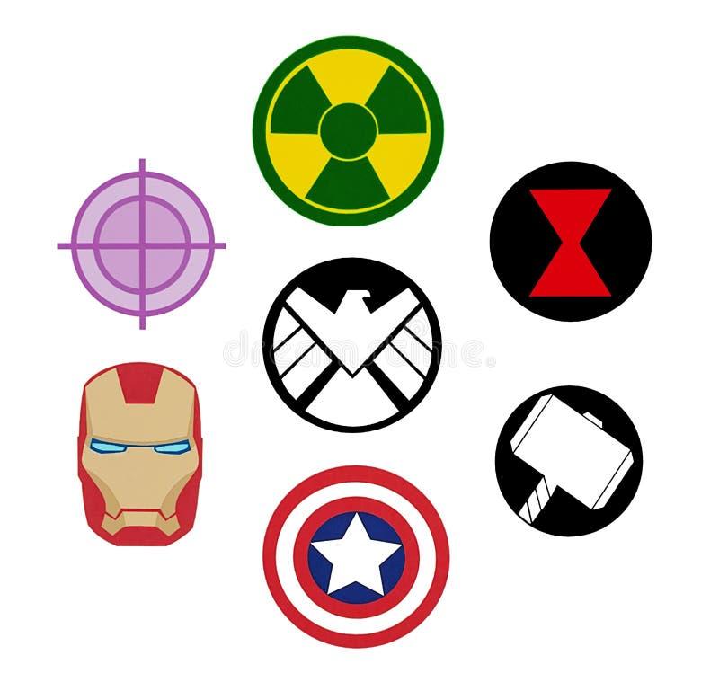 Комплект логотипов чуда мстителей иллюстрация штока
