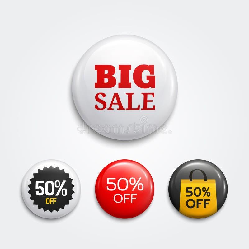 Комплект лоснистых кнопок или значков продажи Продвижения продукта Собрание бирки скидки вектор иллюстрация штока