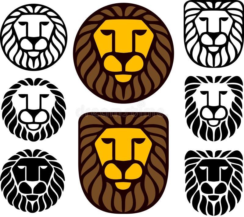 комплект льва 8 головок иллюстрация вектора