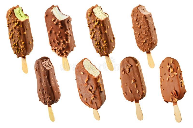 комплект льда плодоовощ шоколада cream стоковые фотографии rf