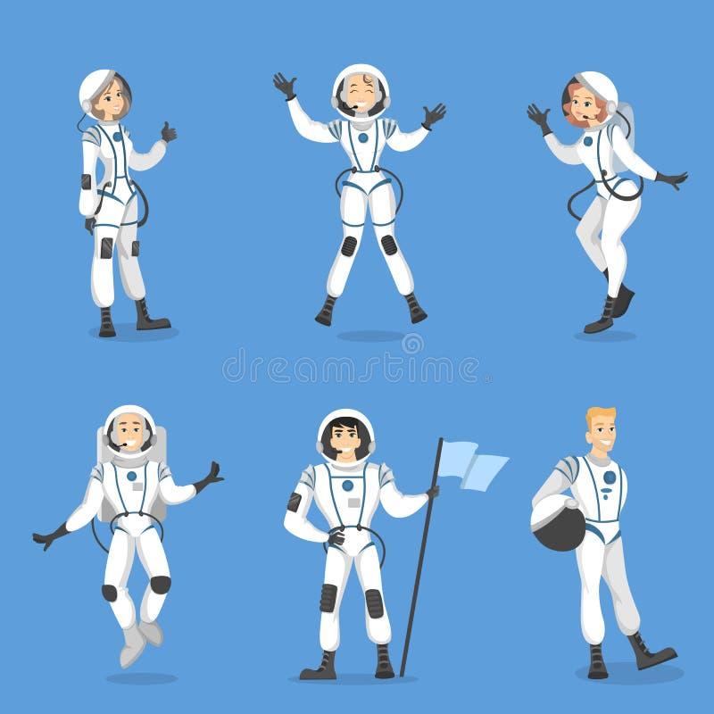 Комплект людей астронавтов иллюстрация штока