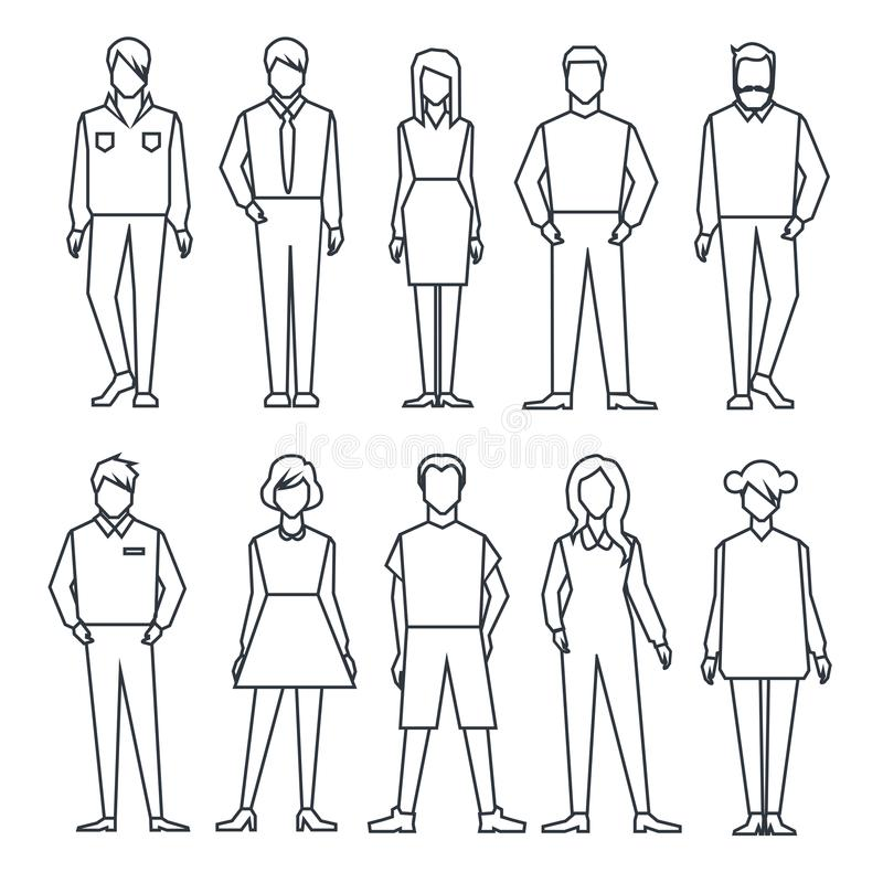 Комплект людей линейно бесплатная иллюстрация