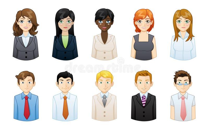 Комплект людей проиллюстрированный значками стоковая фотография rf