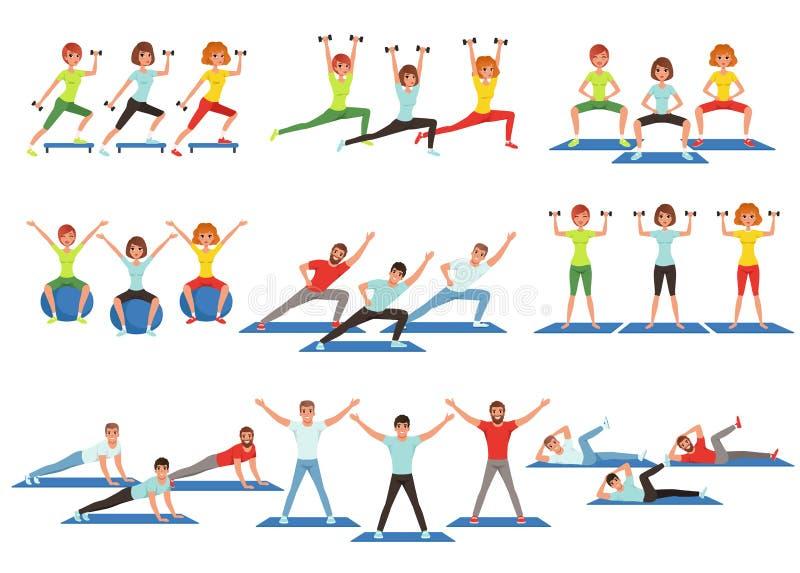 Комплект людей разрабатывая в спортзале Маленькие девочки и парни делая тренировки Физическая активность Здоровый уклад жизни Люд бесплатная иллюстрация
