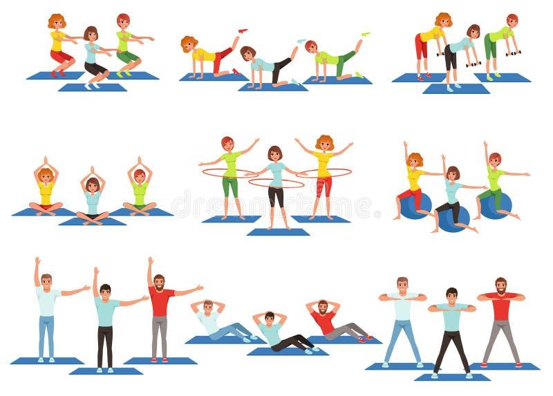 Комплект людей спорт в спортзале Тренировка фитнеса группы Активный и здоровый образ жизни Люди и женщины делая тренировки Молоды иллюстрация вектора