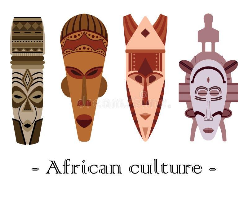 Комплект 4 маск цвета традиционных африканских на белом backgroun бесплатная иллюстрация