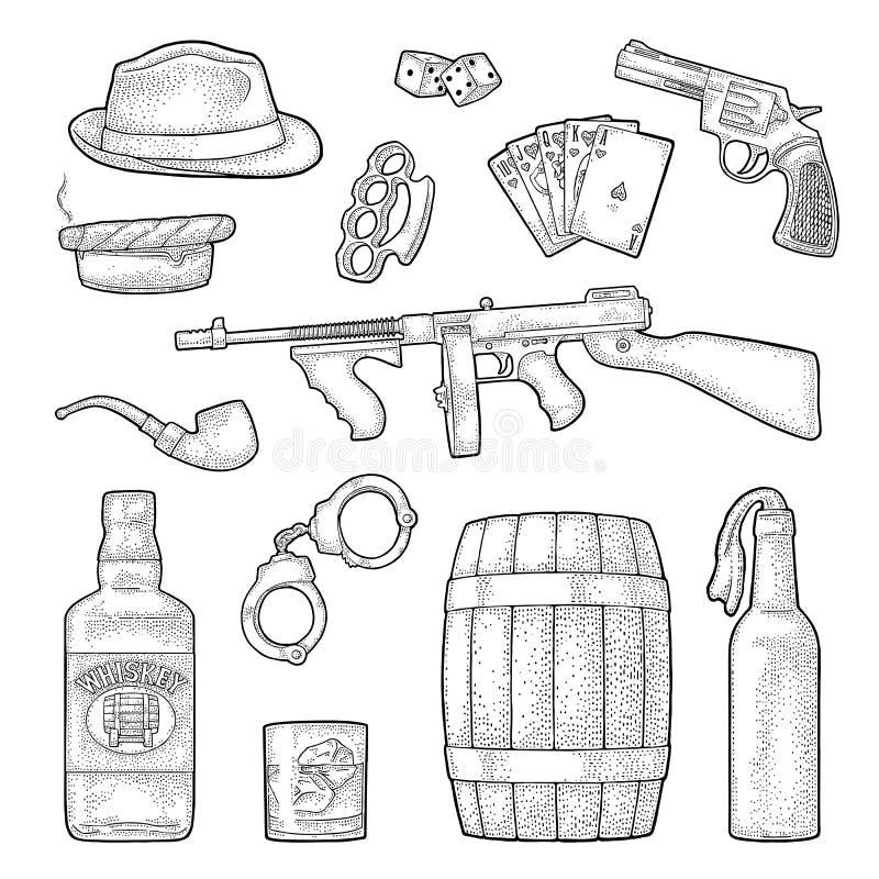 Комплект мафии гангстера Иллюстрация черноты вектора гравировки винтажная бесплатная иллюстрация