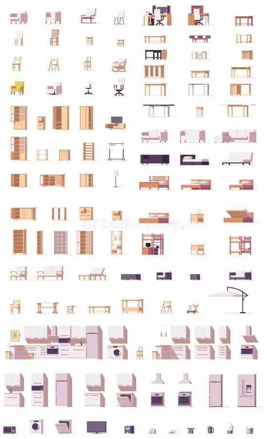 Комплект мебели вектора низкий поли бесплатная иллюстрация