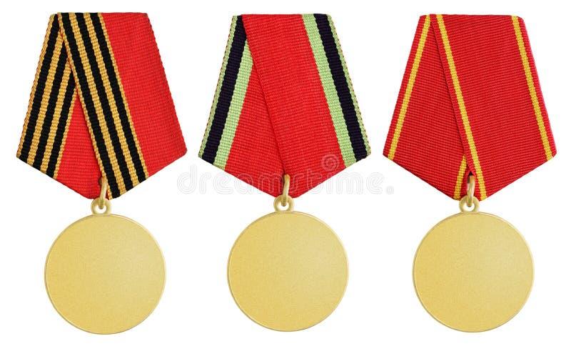 Комплект медали на белизне стоковое изображение rf