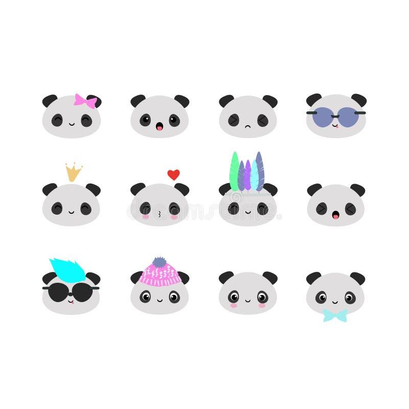 Комплект 12 медведей панды вектора возглавляет с смешными сторонами kawaii, perf иллюстрация штока