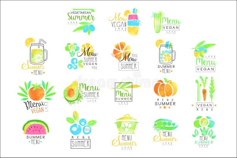 Комплект меню лета вегетарианский для дизайна логотипа Собрание красочных иллюстраций бесплатная иллюстрация